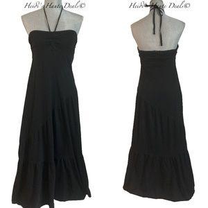 Michael Stars Black Cotton Tiered Maxi Dress O/S